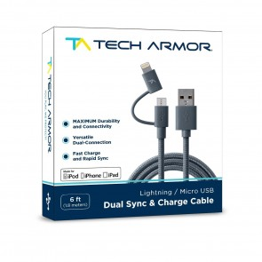 Tech Armor Nylon Woven, Overmolded Cable Tips with integrated 8 pin Lightning Adapter & MicroUSB in one with Lifetime Warranty