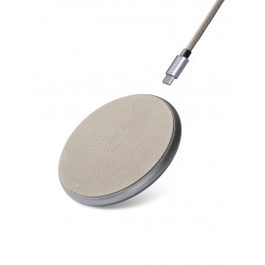 Decoded Leather QI Wireless Charger Silver/ Grey