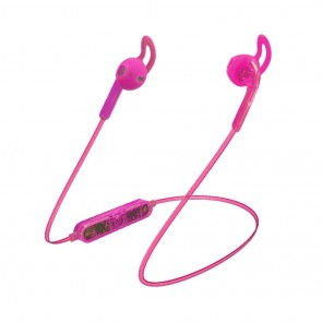Candywirez Wireless Flat Translucent Ear Buds - Neon Pink