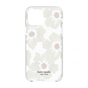 Kate Spade New York Protective Hardshell Case (1-PC Comold) for iPhone 12/iPhone 12 Pro - Hollyhock Floral Clear/Cream with Stones
