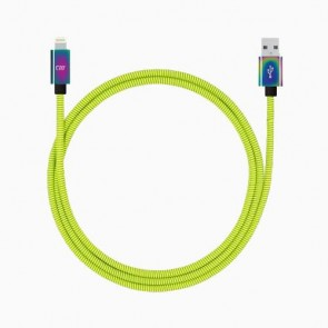 Candywirez 3FT Stainless Steel Lightning Cable - Neon Yellow
