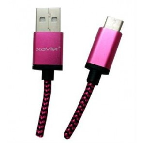 """Professional Cable USB Type-C Male to USB """"A"""" Male Braided Pink Color - 6 Feet"""